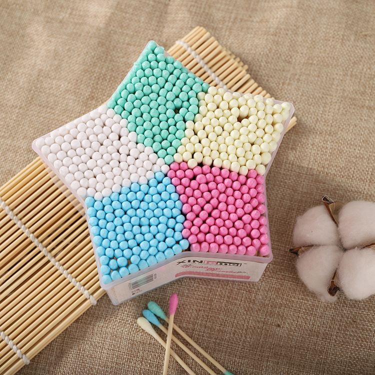 500PCS / SET Baby Cotton Swab Stick Head Ear Bud Cleaning Tool New Five-star Boxed Double-head Colored Cotton Swab
