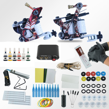цена на 2 Tattoo Machine Gun 6 Colors Pigment Inks Sets Power Supply Set Starter Tattoo Kits Body Art Tools Sets