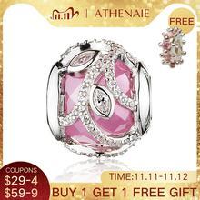 ATHENAIE abalorios de circonia cúbica transparente rosa para fabricación de joyería, pulseras europeas, Navidad, Plata de Ley 925