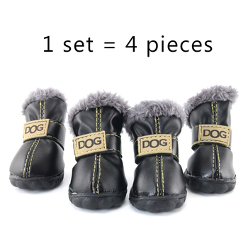 Winter Pet Dog Shoes Warm Snow Boots Waterproof Fur 4Pcs/Set Small Dogs Cotton Non Slip XS For ChiHuaHua Pug Pet Product PETASIA 4