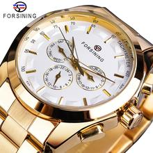 Forsining Golden Men Mechanical Watch Fashion 3 Dial Calendar Steel Band Business Gentleman Automatic Watches Clock Montre Homme цена и фото