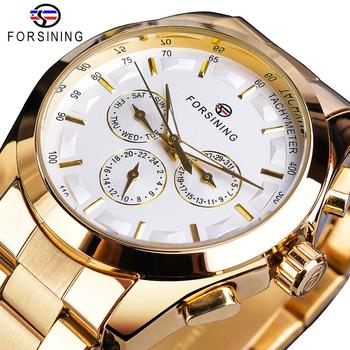 цена Forsining Golden Men Mechanical Watch Fashion 3 Dial Calendar Steel Band Business Gentleman Automatic Watches Clock Montre Homme онлайн в 2017 году