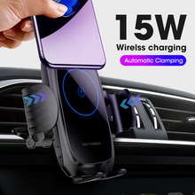 15 w qi 자동차 무선 충전기 자동 클램핑 빠른 충전 전화 홀더 아이폰 11 프로 xr xs 화웨이 p30 프로