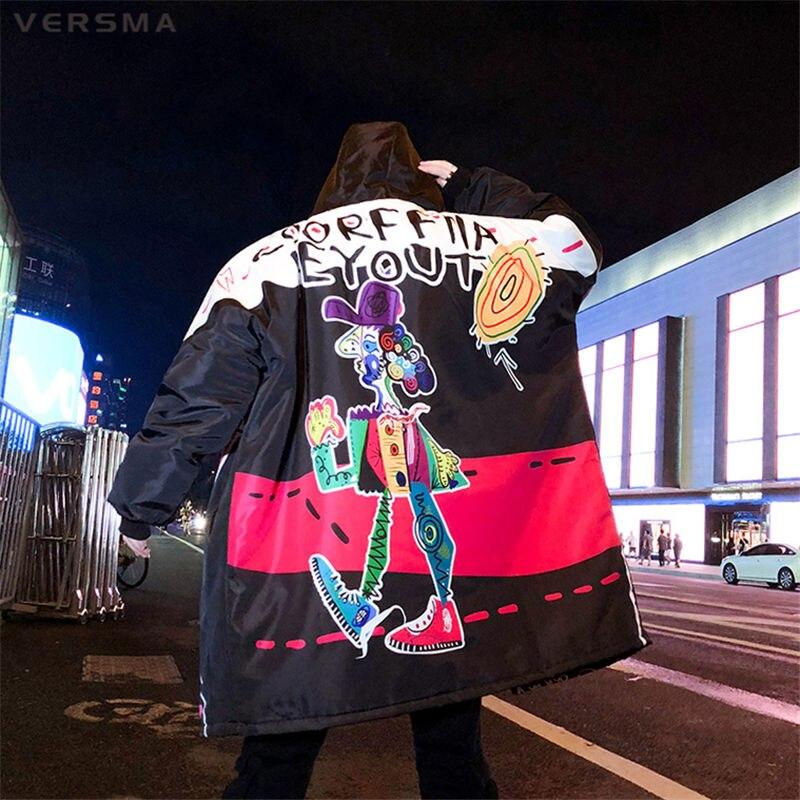 VERSMA корейский Харадзюку граффити печати Мужская Длинная зимняя куртка s большой размер хип хоп панк зимняя мужская парка куртка пальто дроп