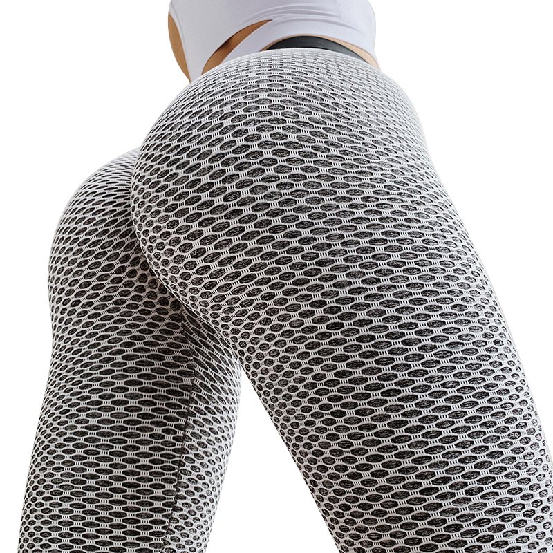CHRLEISURE Grid collant pantaloni da Yoga donna Leggings a vita alta senza cuciture palestra traspirante Fitness Push Up abbigliamento ragazza Yoga Pant 2