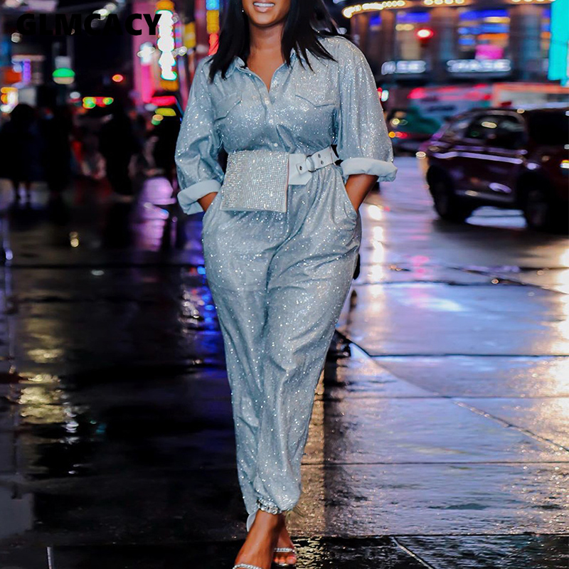 Women Sequined Long Sleeve Turn Down Collar Bodycon Jumpsuit Skinny Shining Sparkly Solid Chic Spring Fall Plus Size Overall