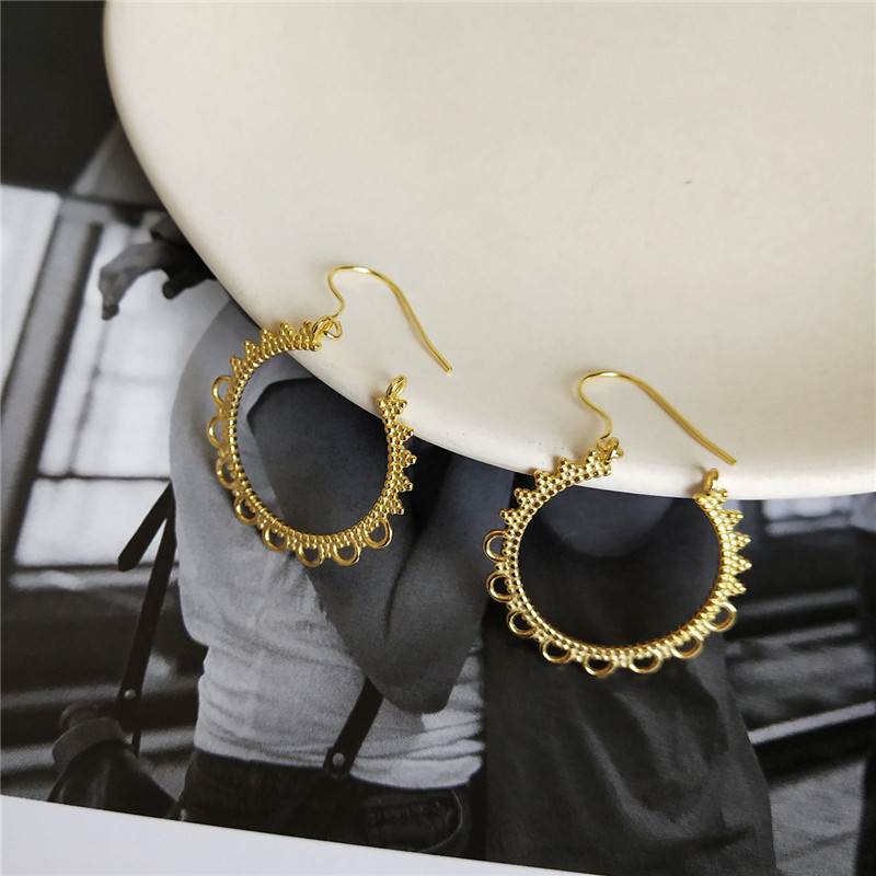 RUIYI Women Luxury Real 925 Sterling Silver Drop Earrings Girl Lace Circle C Shape Charm Drop Earrings Female Gold Niche Earring
