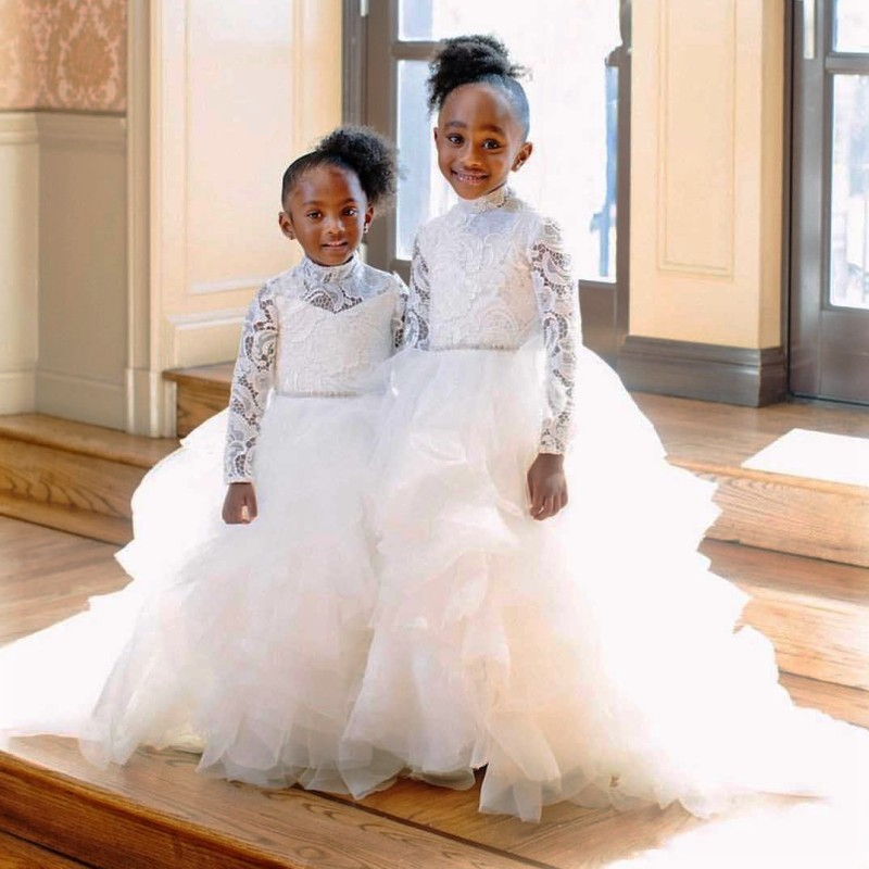 Ivory Long Sleeves   Flower     Girls     Dresses   For Weddings High Neck Lace And Tulle First Communion   Dress   Tiered Customized
