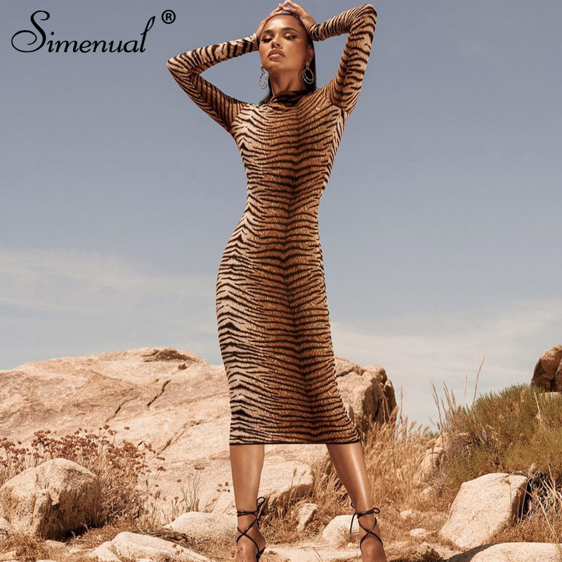 Simenual Sexy Fashion Zebra Print Women Maxi Dresses Long Sleeve 2019 Autumn Skinny Party Clubwear Hot Bodycon Dresses Slim Sale in Dresses from Women 39 s Clothing