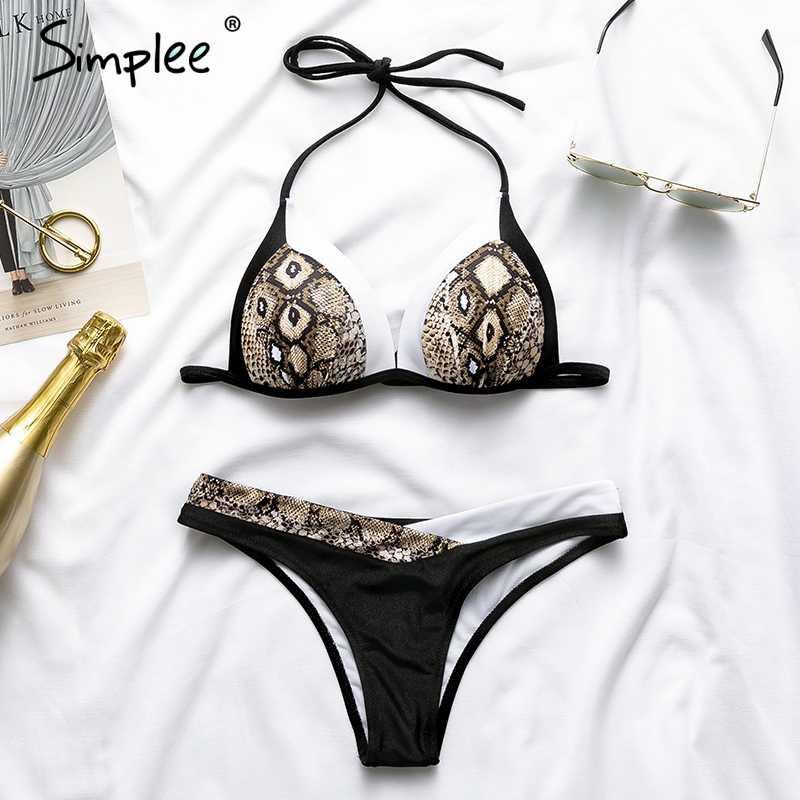 Женский треугольный комплект бикини Simplee,женский пуш-ап купальник  со змеиным принтом, с вкладышами и лямкой на шее, летний пляжный купальный костюм для отдыха