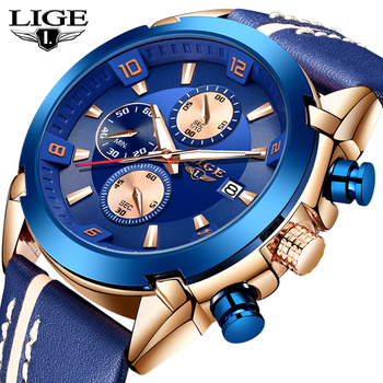 2019 LIGE Brand Gift Chronograph Analog Quartz Watch Date Luminous Men Watches Waterproof Leather Watch Man Relogio Masculino men s army military watch man quartz clock relogio masculino luxury brand men analog digital leather sports watches