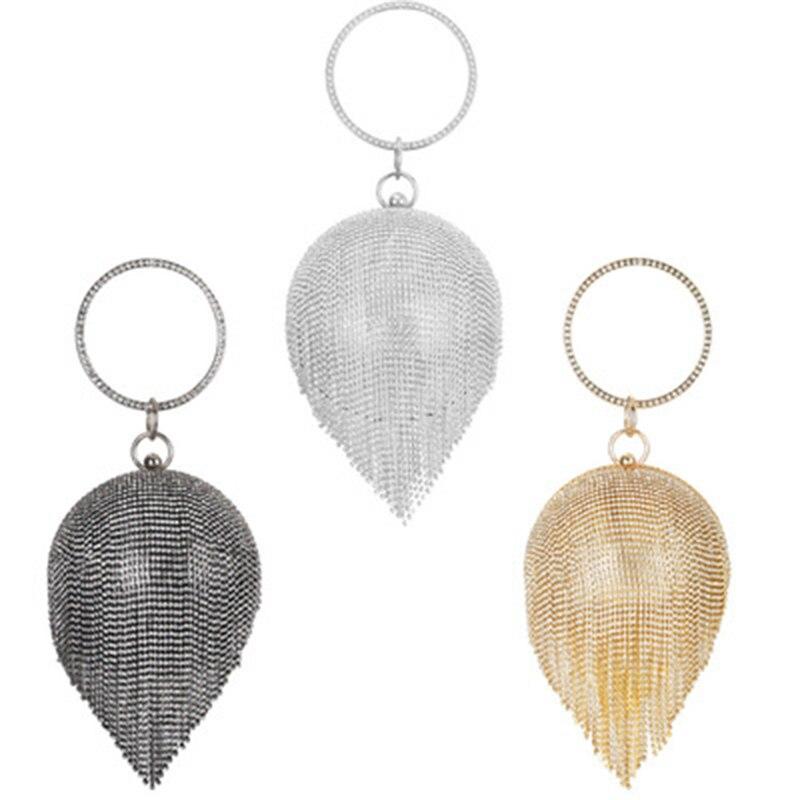 Fashion Inlaid Rhinestone Round Ball Evening Bags 2019 Women Mini Tassels Ladies Circle Handle Handbag BS88
