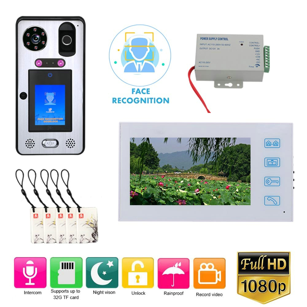 7 Inch Record Wired Video Door Phone Doorbell Intercom System With  Face Recognition Fingerprint RFIC Card AHD 1080P Camera