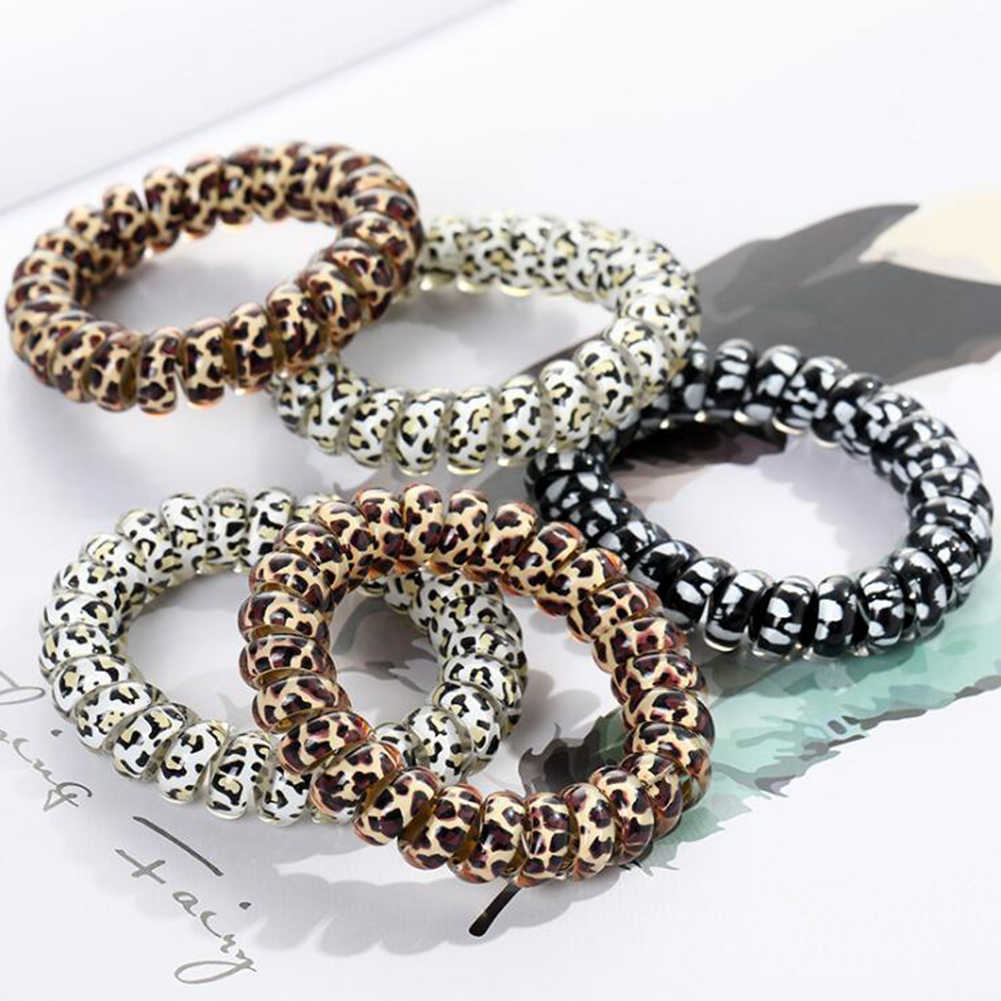 Elastic Leopard Hair Bands Spiral Shape Ponytail Hair Ties Gum Rubber Band Hair Rope Telephone Wire Hair Accessories Headband