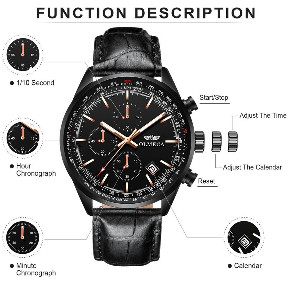 OLMECA  Men Watch Top Brand Luxury Quartz Watches Military Male Wristwatches Sport Men's Watches Genuine Leather Fashion Clock