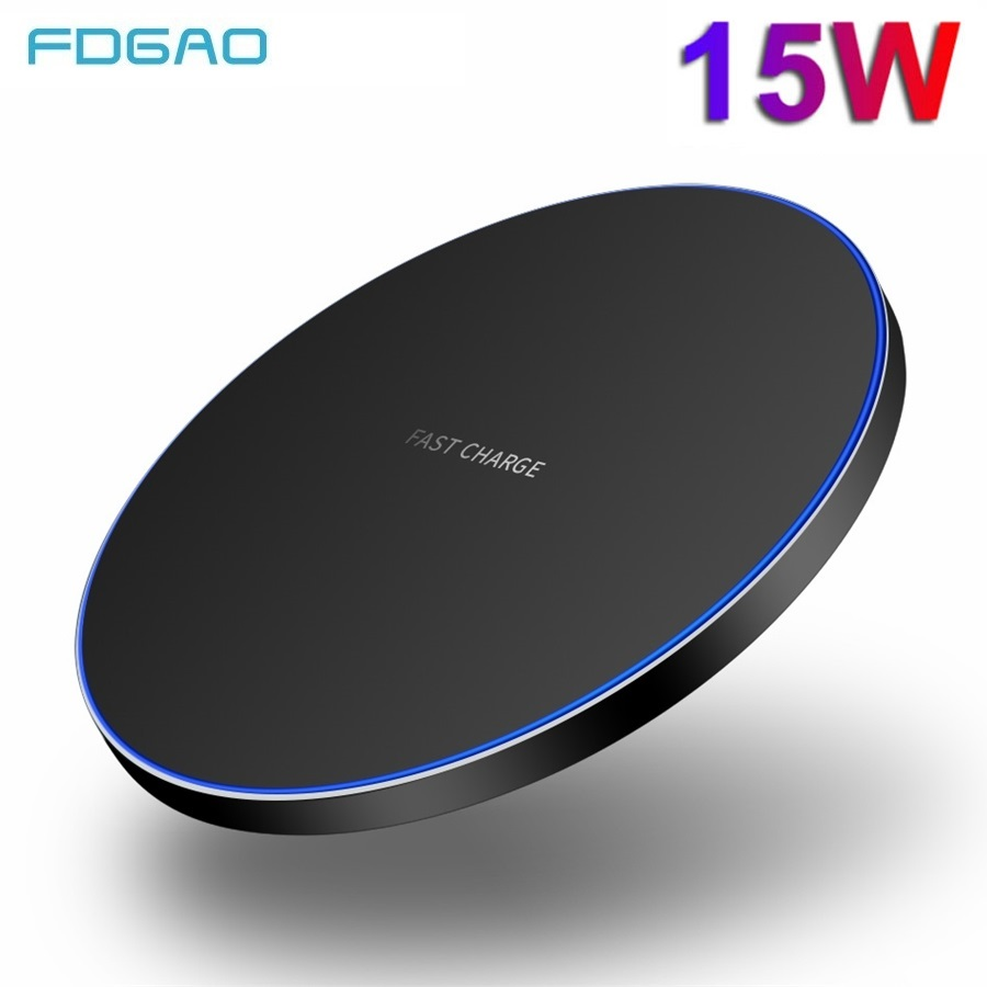 FDGAO 15W Qi chargeur sans fil pour iPhone 11 Pro Max XR XS MAX Samsung S10 S20 Note 10 Huawei P30 Pro 10W station de charge rapide