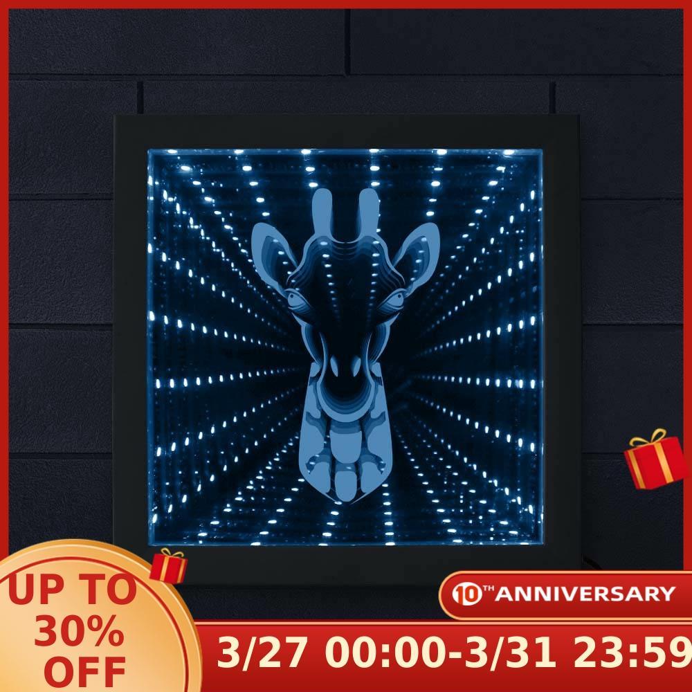 Giraffe Gorgeous Infinity Mirror Wall Light Creative Zoo Decor Animal Theme Wood Frame LED Vortex Tunnel Interstellar Mirror|LED Indoor Wall Lamps| |  - title=