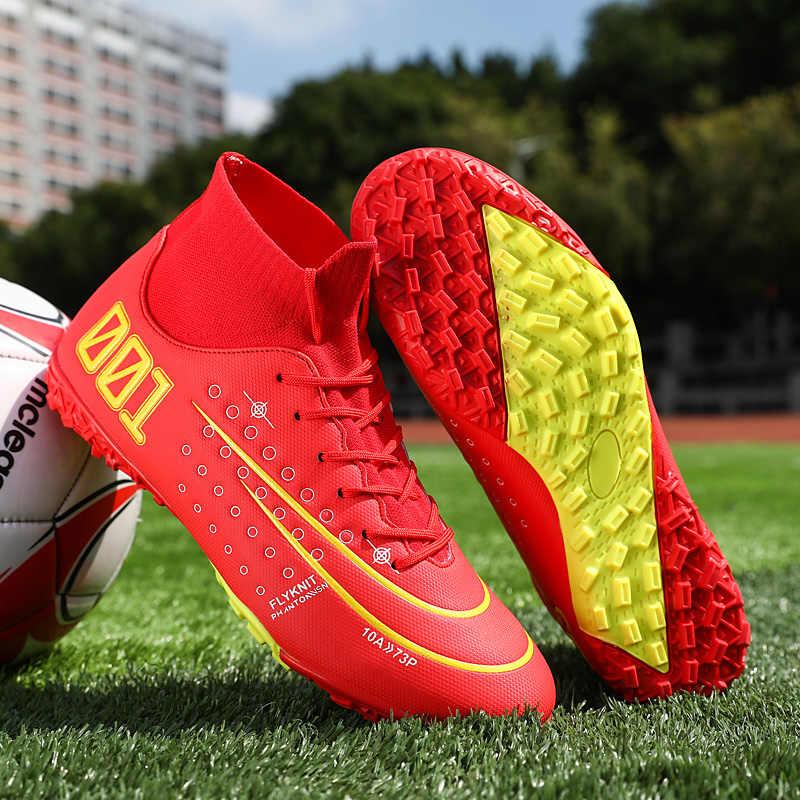 Men Soccer Shoes Boys Soft Ankle Shoes