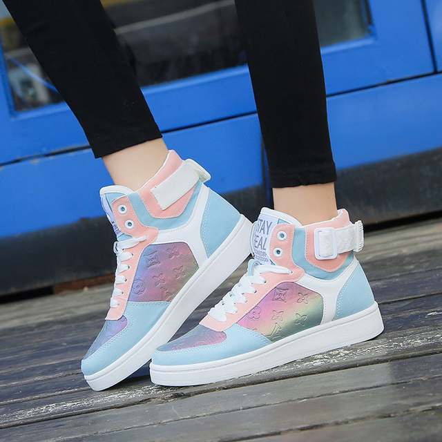 Genuine Leather High Top Women Sneakers Fashion Skate Shoes Lace Up Patchwork Women Casual Shoes Superstars XU135