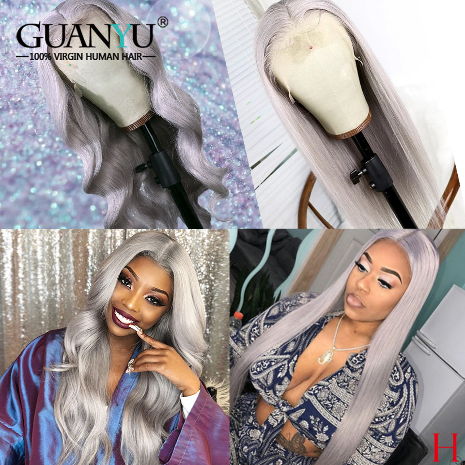 13X4 150% Density Colored Grey Human Hair Wig Brazilian Remy Ombre Hair Lace Front Human Hair Wigs