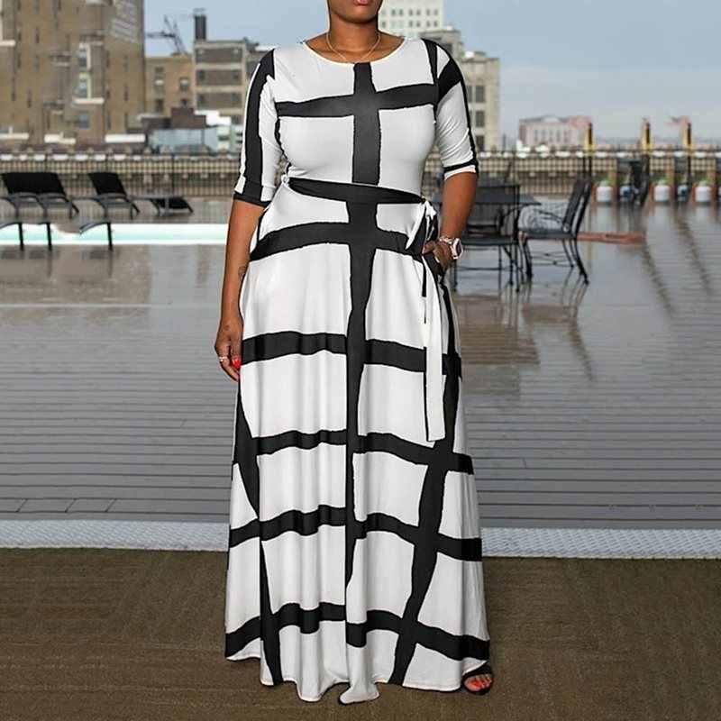 Duży rozmiar z białymi paskami kobiety sukienka elegancka pani urząd długa, maksi sukienki szata jesień Plus rozmiar afryki 2019 sukienki z wysokim stanem