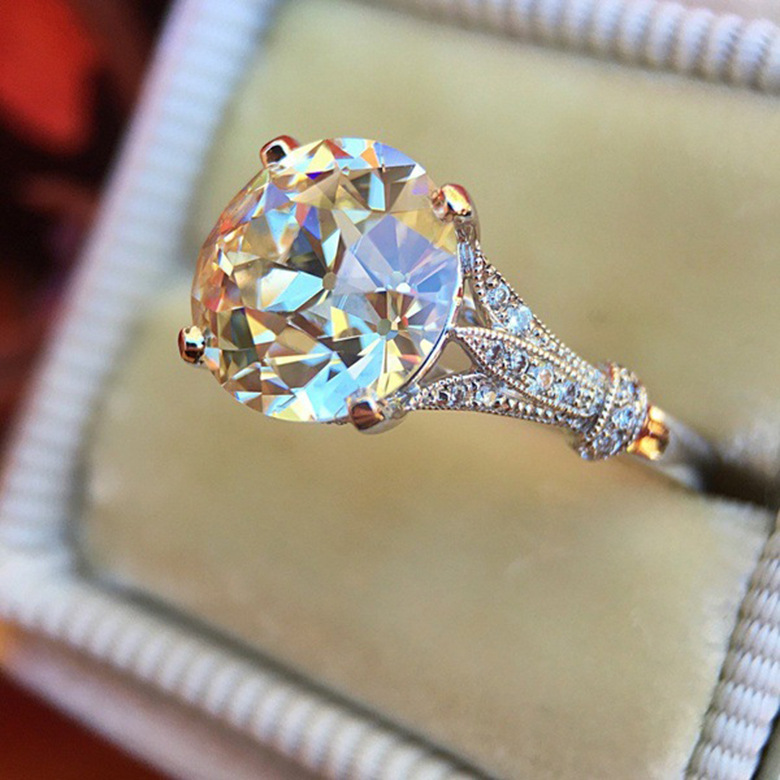 Best Offer 2d02 White Jewelry Women Ring Rose Gold Crown Inlaid
