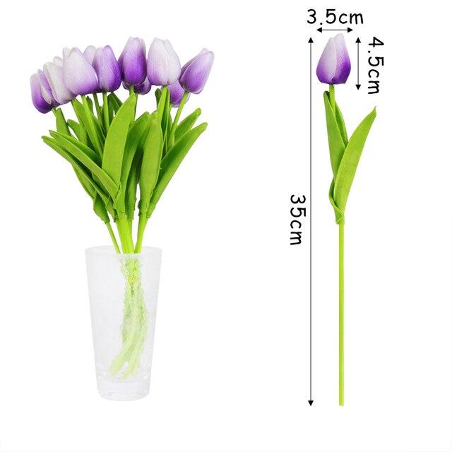 10 Uds flores artificiales tulipanes de jardín flores de tacto Real tulipán ramo de boda para el hogar decoraciones bodas fiestas flor falsa