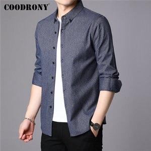 Image 2 - COODRONY Мужская рубашка из чистого хлопка, с длинным рукавом, Осень зима 2019, повседневная, деловая, 96077