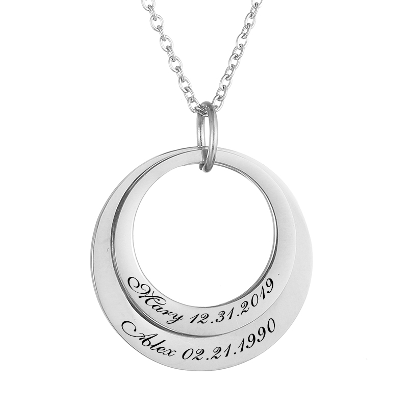 Personalized Necklaces Custom Name 2 Circle Women Necklace Stainless Steel Engraved Letter Pendant Necklace For Anniversary Gift