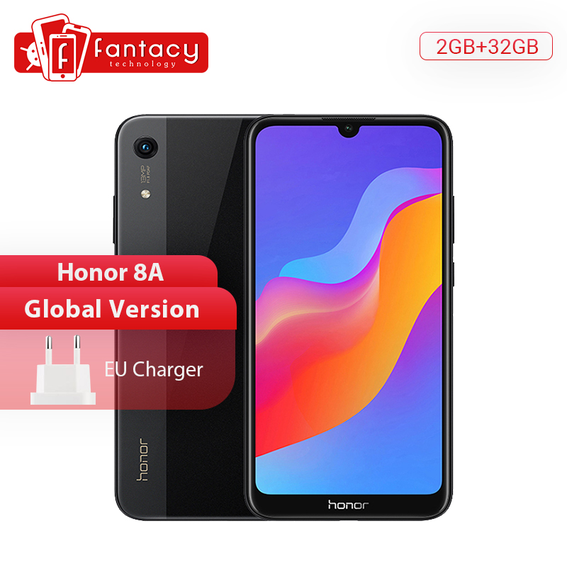 Global Version Honor 8A Smartphone 6.09 Inch MT6765 Octa Core Mobile Phone Android 13MP Rear Camera Face Unlock OTA Google Play