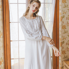 Schlafen Kleid Nachthemd Herbst Frau Prinzessin Nachtwäsche Langarm Weiß Nachthemd Baumwolle Nachtwäsche Frauen Mädchen