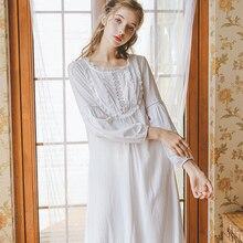 잠자는 드레스 nightdress 가을 여자 공주 nightwear 긴 소매 흰색 잠옷 면화 잠옷 여자 여자