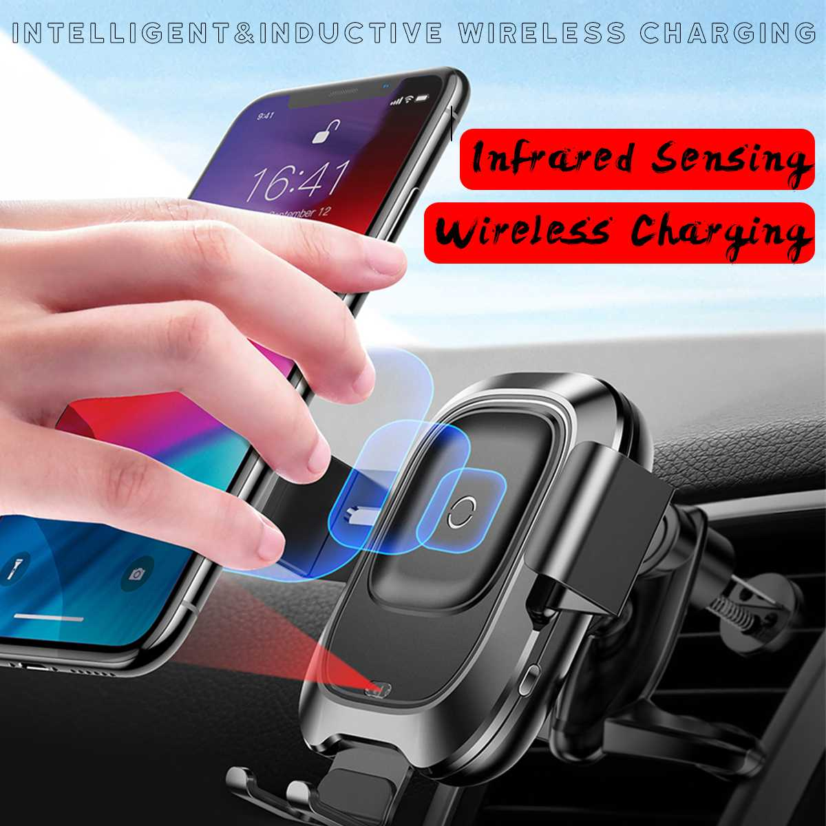 <font><b>Baseus</b></font> <font><b>Car</b></font> Wireless <font><b>Charger</b></font> For iPhone 11 Pro XS Max for Samsung S10 Intelligent Infrared Fast Wirless Charging <font><b>Car</b></font> Phone Holder image