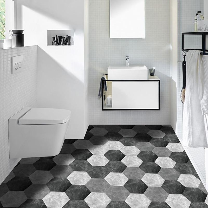 10Pcs/Lot Modern Hexagonal Thickened Waterproof Self-adhesive Wallpaper Living Room Floor Sticker Anti Slip For Bathroom Kitchen