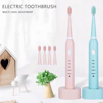 Ultrasonic Sonic Electric Toothbrush USB Charge Rechargeable Tooth Brushes Washable Electronic Whitening Teeth Brush waterproof umbracare ultrasonic sonic electric toothbrush usb charge rechargeable tooth brushes with replacement heads timer waterproof