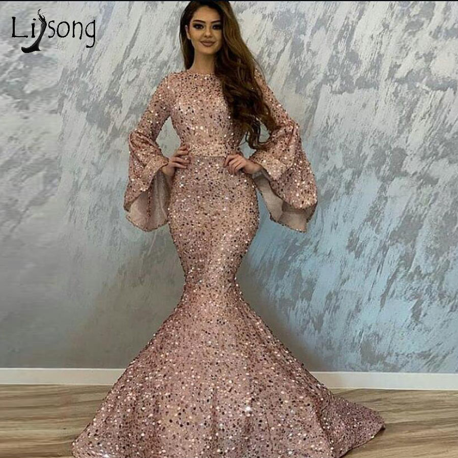 Pretty Rose Pink Sequined Mermaid Prom Dresses With Flare Full Sleeves Elegant Long Prom Gowns 2019 Vestidos