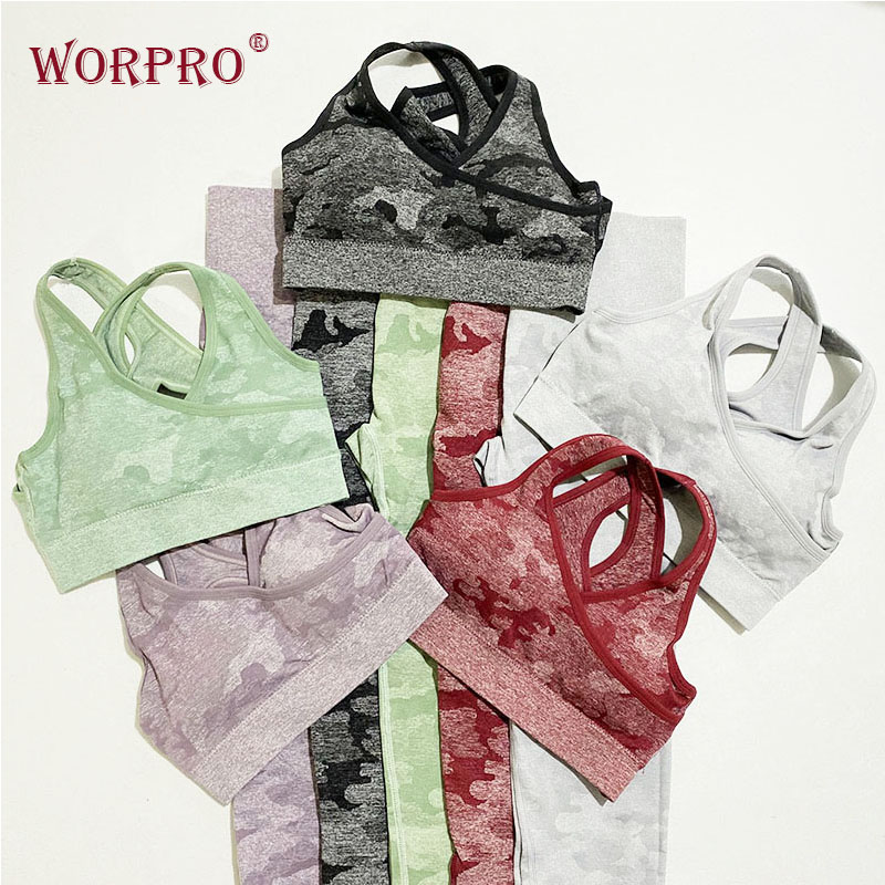 2 Piece Gym Clothing Set Camo Sports Set Clothing For Women Yoga Sets Women Gym Clothes Leggings And Top For Fitness Yoga Suits