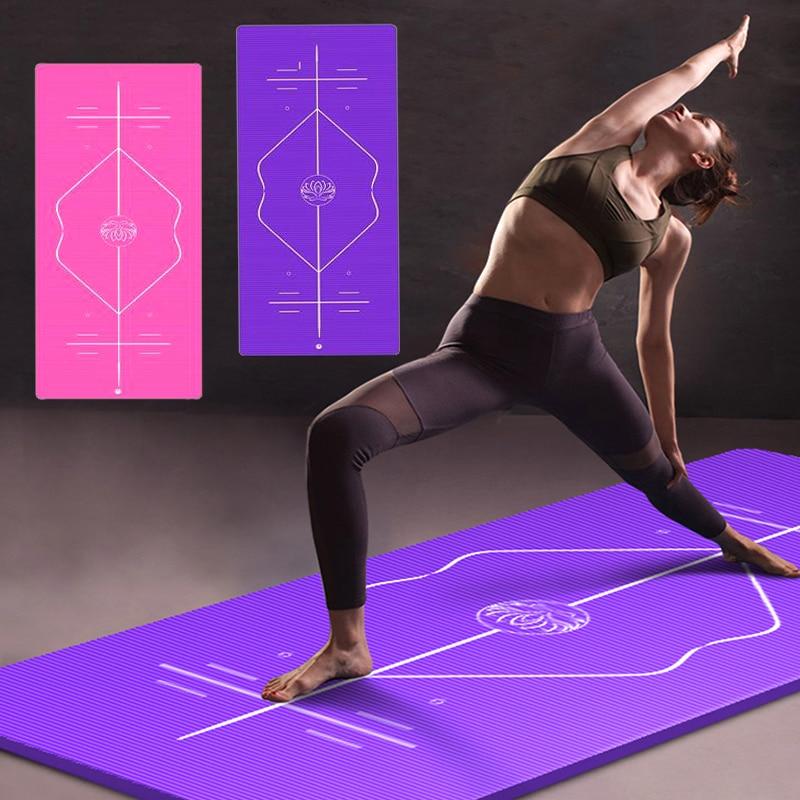 10mm Yoga Mat for Beginner with Position Line Non-slip Gym Yoga Mat Thicken Widen Men Women Yoga Exercise Dance Fitness Mat 1