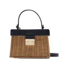 Tobo za personalizado flip woven crossbody sacos casuais portáteis para as mulheres cesta palha rattan saco caixa do vintage bolsa de palha