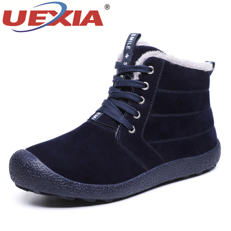 UEXIA Brand Men Snow Shoes Winter Plush Warm Ankle Boots Outdoor Lace Up Winter Shoes Suede Men Boots Footwear Big Size 39 48 in Snow Boots from Shoes