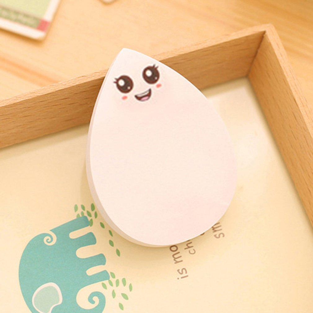 DC008 Lovely Water-drop Shape Sticky Notes Kawaii School Supplies Smile Post-it Note Stickers Paper Office Stationery