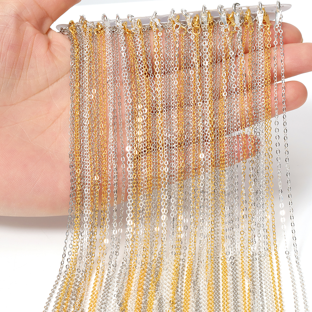 12pcs Necklace Link Chain 40cm Length Lobster Clasp Metal Fine Curb Chain DIY Accessories For Craft Jewelry Making Wholesale
