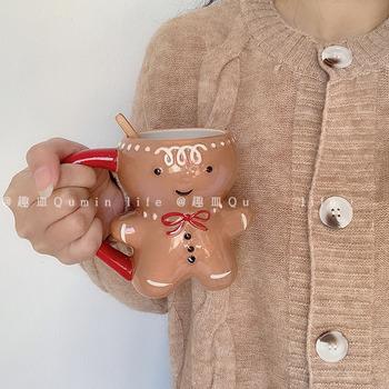 Kreatywność boże narodzenie ceramiczne naczynie na herbatę kubki 450 Ml zabawny kubek podróżny do kawy śliczny Gingerbread Man kubek wody dziewczyny chłopcy prezenty dla przyjaciół tanie i dobre opinie glvasen CN (pochodzenie) Ceramiki Kubki na mleko cartoon Bez elementów Uchwyt Mugs 4 6-18 8 Ekologiczne Na stanie Nieodwracany