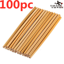 100Pc/Set 20cm Bamboo Straw Reusable Organic Drinking Natural Wood Straws For Party Birthday Wedding Bar Tool