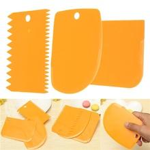 3 шт Пластиковые Тесто глазурь скребок для мастики Торт Кондитерские инструменты для украшения выпечки гладкие зубчатые края лопатки резаки SNO88