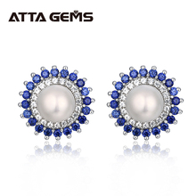 Natural Freshwater Pearl Silver Stud Earring for Women Fine Jewelry