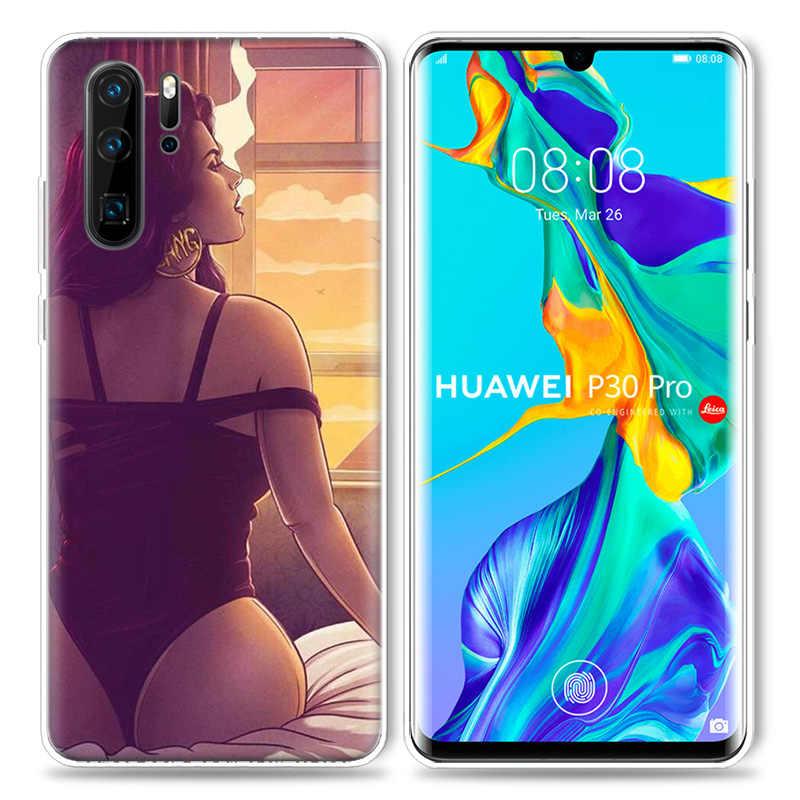 Эстетический чехол для курящей девушки huawei P20 Lite P30 P Smart Z Plus 2019 P10 P9 P8 mate 10 20 30 Pro 5G силиконовый чехол для телефона Cas
