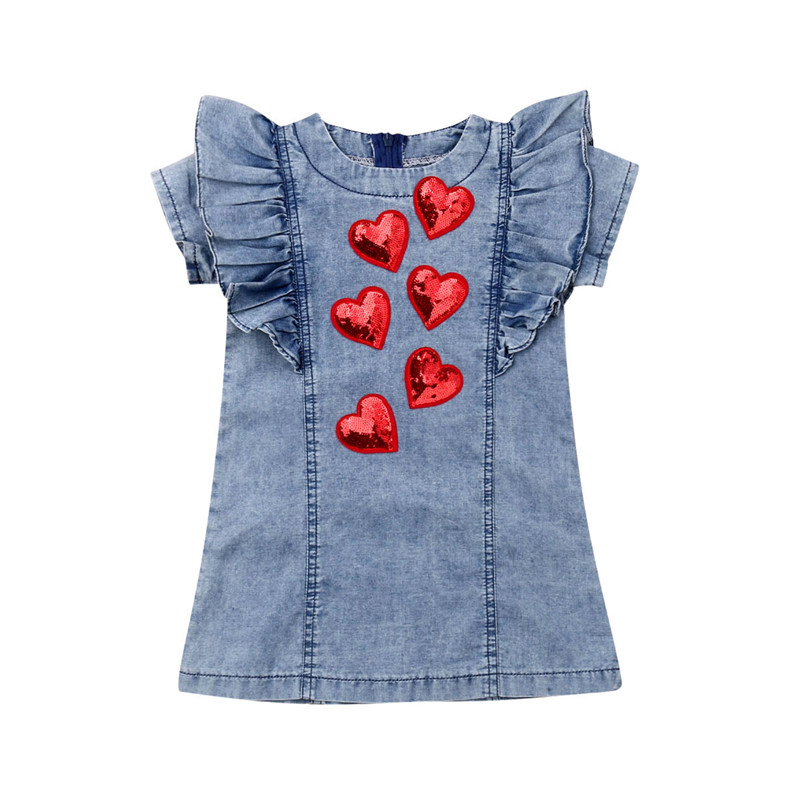 2020 Toddler Baby Girls Sequins Heart Dress Kids Party Pageant Bridesmaid Denim Ruffles Princess Dresses Clothes Sunsuits