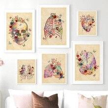 Cerebro corazón cráneo flor anatomía Vintage pared arte lienzo pintura carteles nórdicos e impresiones cuadros de pared para decoración de sala de estar