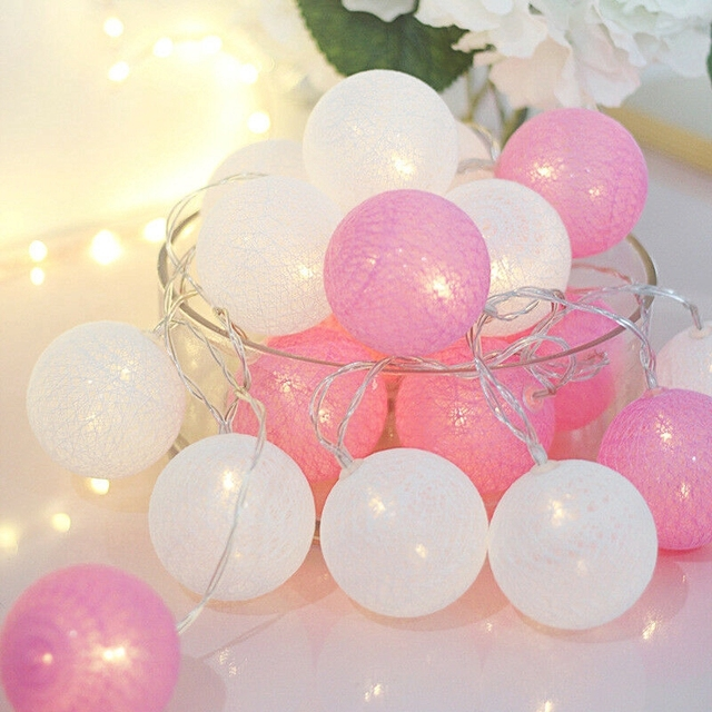 20 LED Cotton Ball Garland String Lights Christmas Fairy Lighting Strings for Outdoor Holiday Wedding Xmas Party Home Decoration 3